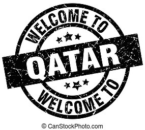 welcome to Qatar black stamp