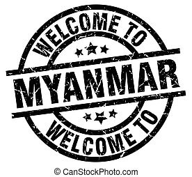 welcome to Myanmar black stamp