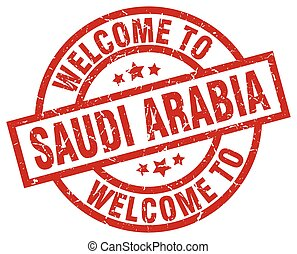 welcome to Saudi Arabia red stamp