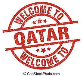 welcome to Qatar red stamp