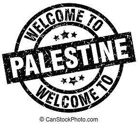welcome to Palestine black stamp
