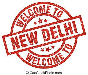 welcome to New Delhi red stamp