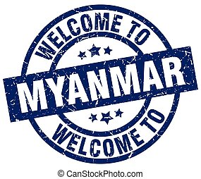welcome to Myanmar blue stamp