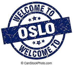 welcome to Oslo blue stamp