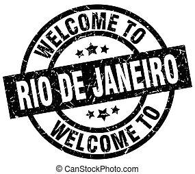 welcome to Rio De Janeiro black stamp