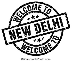 welcome to New Delhi black stamp