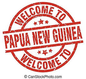 welcome to Papua New Guinea red stamp