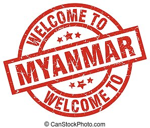 welcome to Myanmar red stamp
