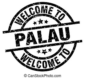 welcome to Palau black stamp