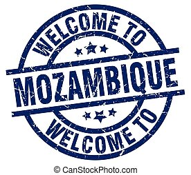 welcome to Mozambique blue stamp