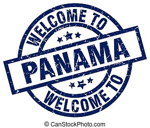 welcome to Panama blue stamp