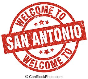 welcome to San Antonio red stamp