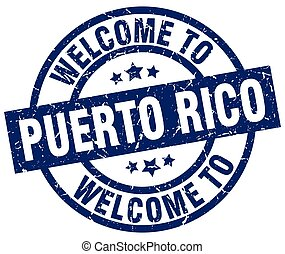 welcome to Puerto Rico blue stamp