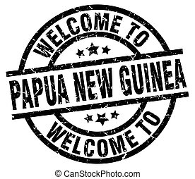 welcome to Papua New Guinea black stamp