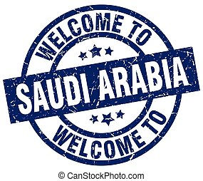 welcome to Saudi Arabia blue stamp
