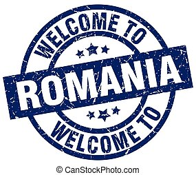 welcome to Romania blue stamp