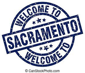 welcome to Sacramento blue stamp