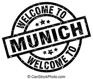 welcome to Munich black stamp