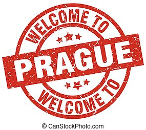 welcome to Prague red stamp