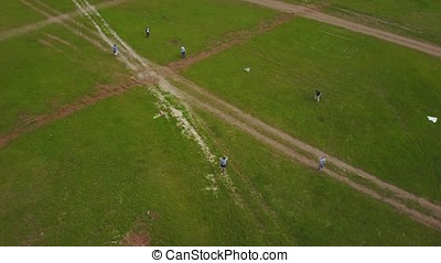 People flie a kite on grass in summer day. Group children flying kite outdoor. Flying kite in motion making loops in the sky aerial view