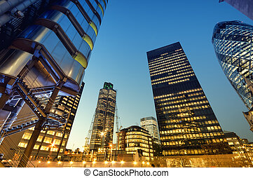 Skyscrapers of City of London at night