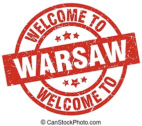 welcome to Warsaw red stamp