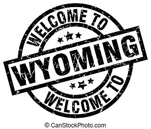 welcome to Wyoming black stamp