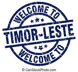 welcome to Timor-Leste blue stamp