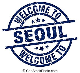 welcome to Seoul blue stamp
