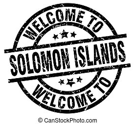 welcome to Solomon Islands black stamp