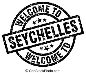 welcome to Seychelles black stamp