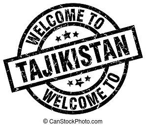 welcome to Tajikistan black stamp