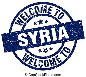 welcome to Syria blue stamp