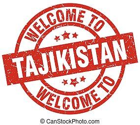 welcome to Tajikistan red stamp
