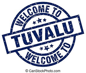 welcome to Tuvalu blue stamp