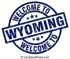 welcome to Wyoming blue stamp