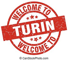 welcome to Turin red stamp
