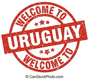 welcome to Uruguay red stamp