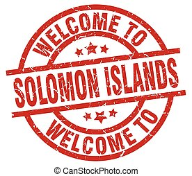 welcome to Solomon Islands red stamp