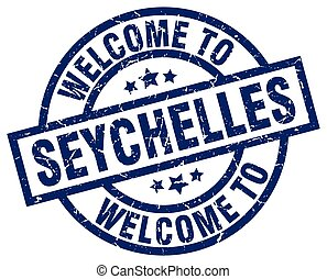 welcome to Seychelles blue stamp