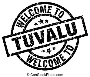 welcome to Tuvalu black stamp