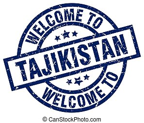 welcome to Tajikistan blue stamp