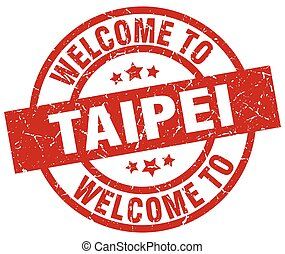 welcome to Taipei red stamp