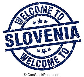 welcome to Slovenia blue stamp