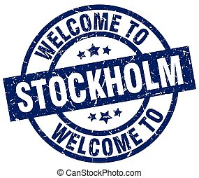 welcome to Stockholm blue stamp