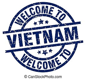 welcome to Vietnam blue stamp