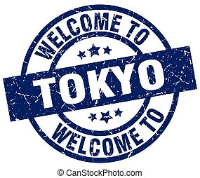 welcome to Tokyo blue stamp