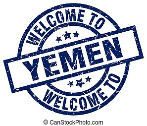welcome to Yemen blue stamp