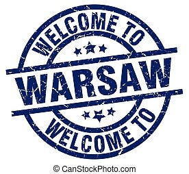 welcome to Warsaw blue stamp
