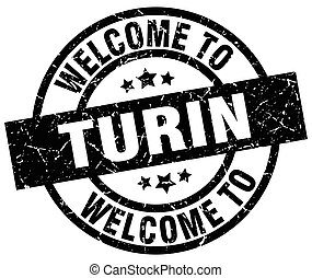 welcome to Turin black stamp